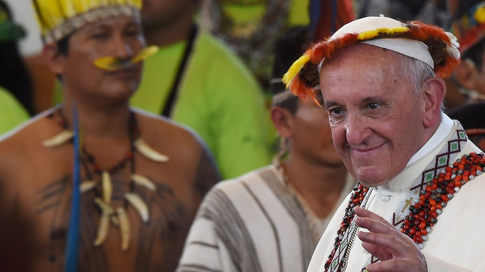 Pope Francis after meeting indigenous leaders in Peru in 2018