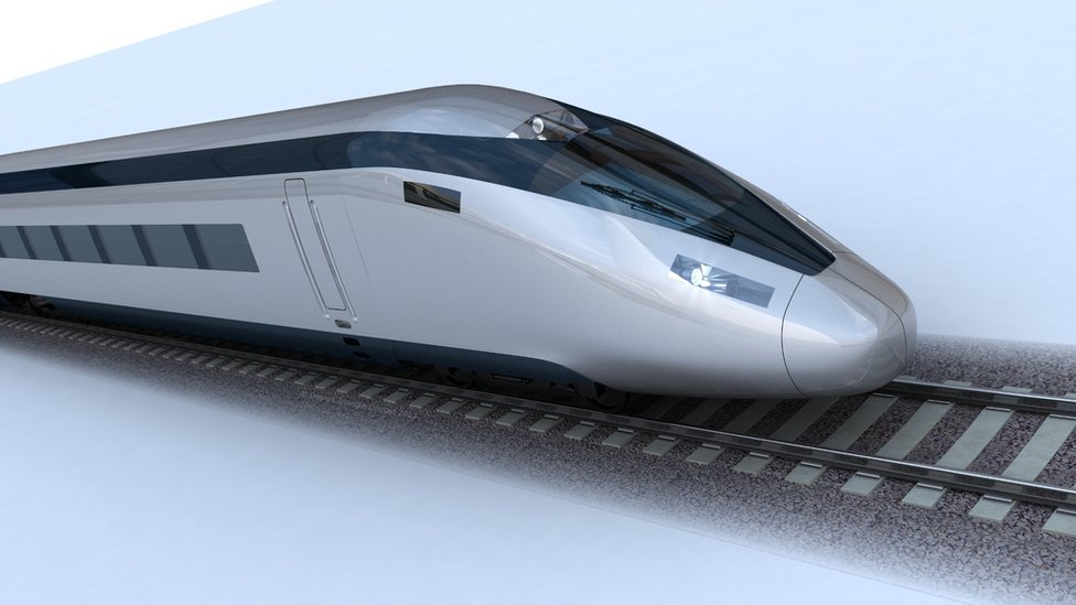 Illustration of a HS2 high-speed train
