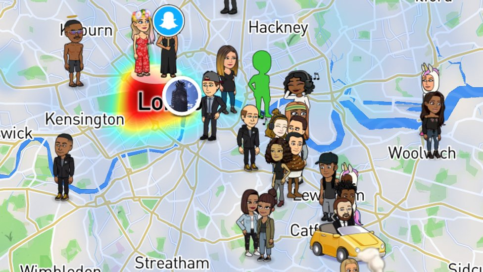 An image of snap maps on snapchat showing where followers are located in London