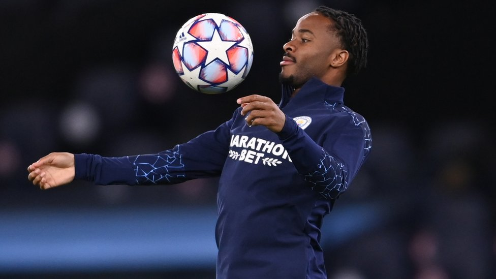 Manchester City's Raheem Sterling during the warm up before a match