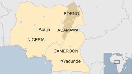 Map of Cameroon and Nigeria