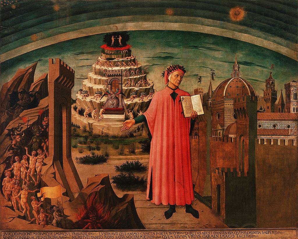 """Dante sostiene su obra """"La Divina Comedia"""". A un lado se representa a Florencia y al otro una visión del infierno. Detrás de Dante las figuras humanas intentan realizar el difícil ascenso al cielo."""