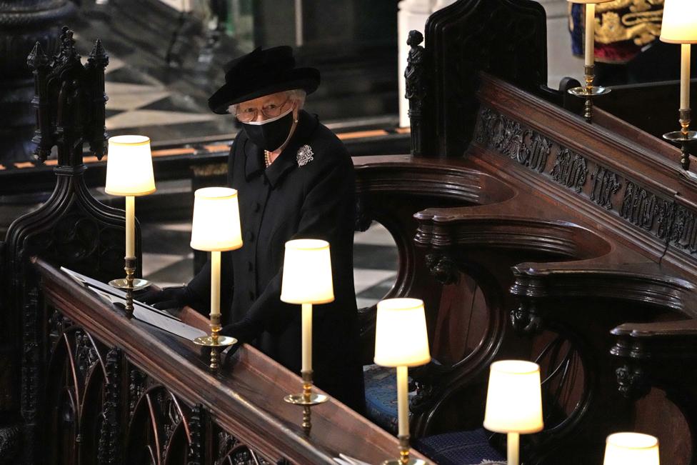 Queen Elizabeth II during the funeral of the Duke of Edinburgh in St George's Chapel, Windsor Castle, Berkshire.