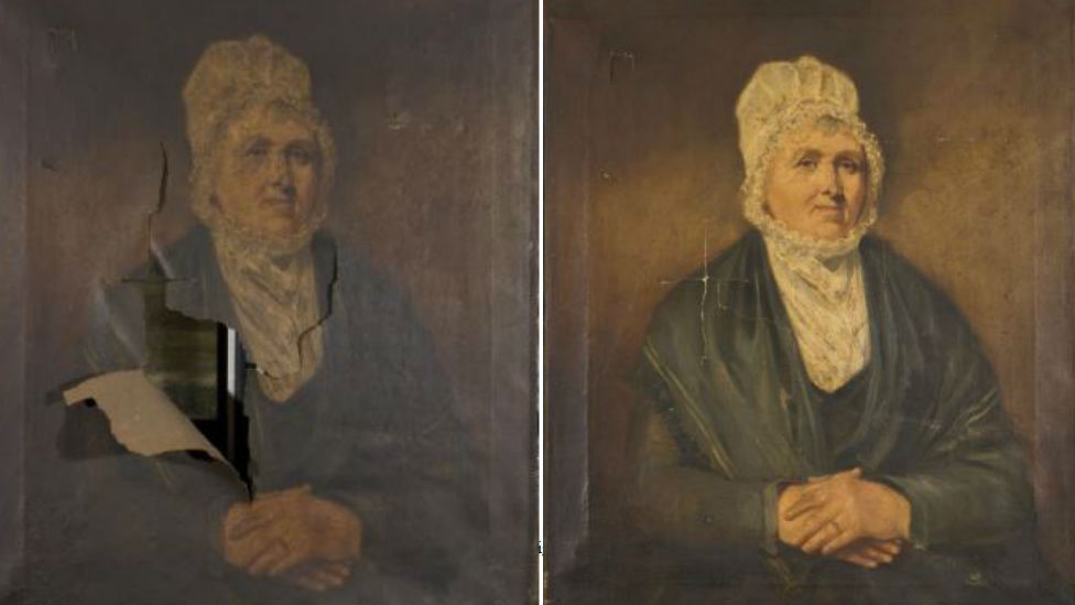 A portrait of the Dock Master's Wife had a large rip and has been cleaned and retouched