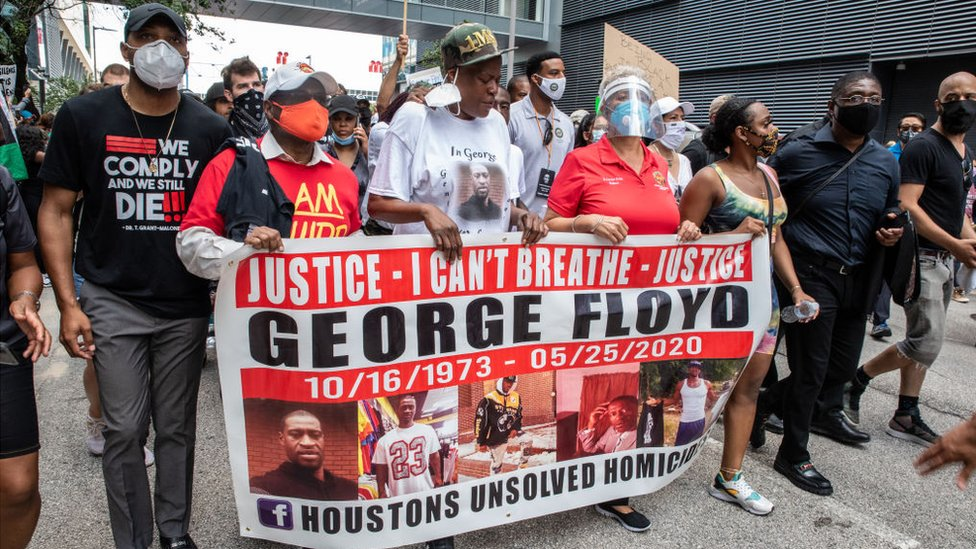 coronavirus stock George Floyd's family joined protesters in Houston