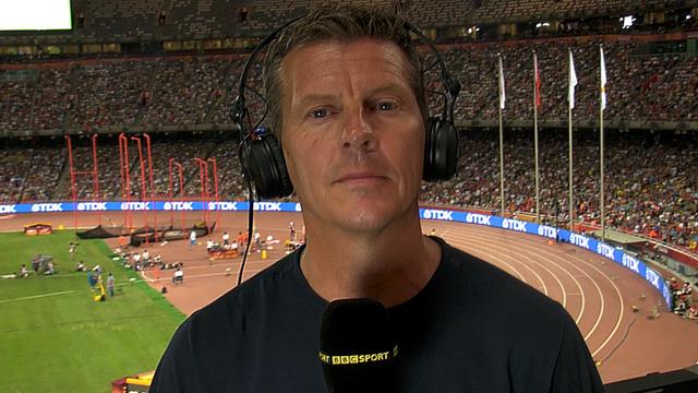 Steve Cram speaking about Kenyan drugs cheats from the Bird's Nest Stadium in Beijing