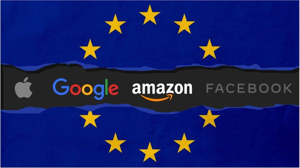 Bendera Uni Eropa dengan perusahaan teknologi besar