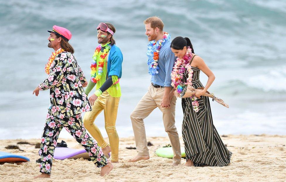 The Duke and Duchess walking barefoot on Bondi Beach