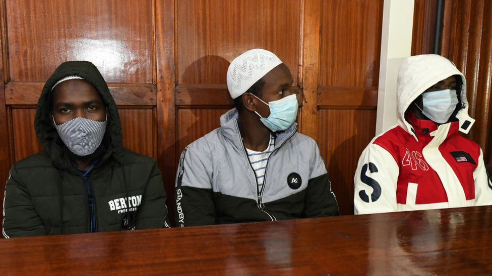 Hussein Hassann Mustafah, Liban Abdullah Omar, and Mohamed Ahmed who are charged with aiding the gunmen involved in the Westgate Mall attack of September 2013, sit in the dock during their appearance for their case at the Milimani court in Nairobi on October 5, 2020.  Westgate: Two found guilty over Kenya shopping mall attack | Daily's Flash  114770789 gettyimages 1228907613  Westgate: Two found guilty over Kenya shopping mall attack | Daily's Flash  114770789 gettyimages 1228907613
