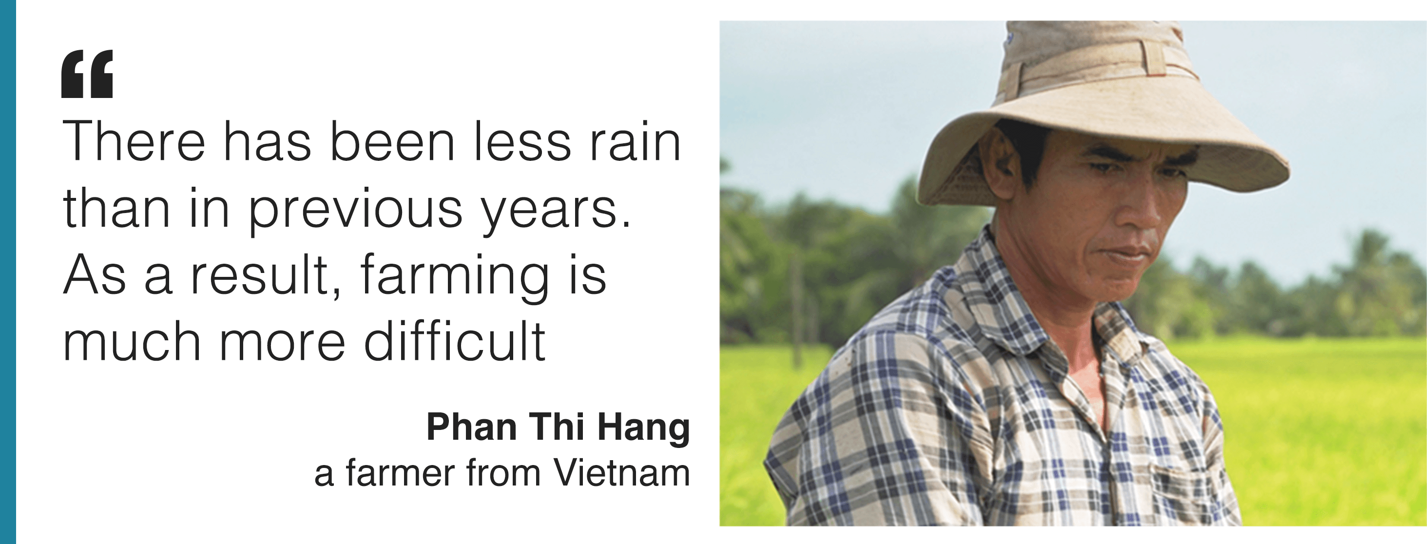 Image and quote from Phan Thi Hang, a farmer from Vietnam. He says 'There has been less rain than in previous years. As a result, farming is much more difficult.'