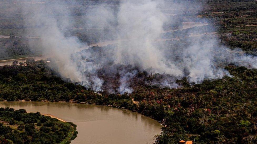 Panorámica del incendio en el Pantanal.