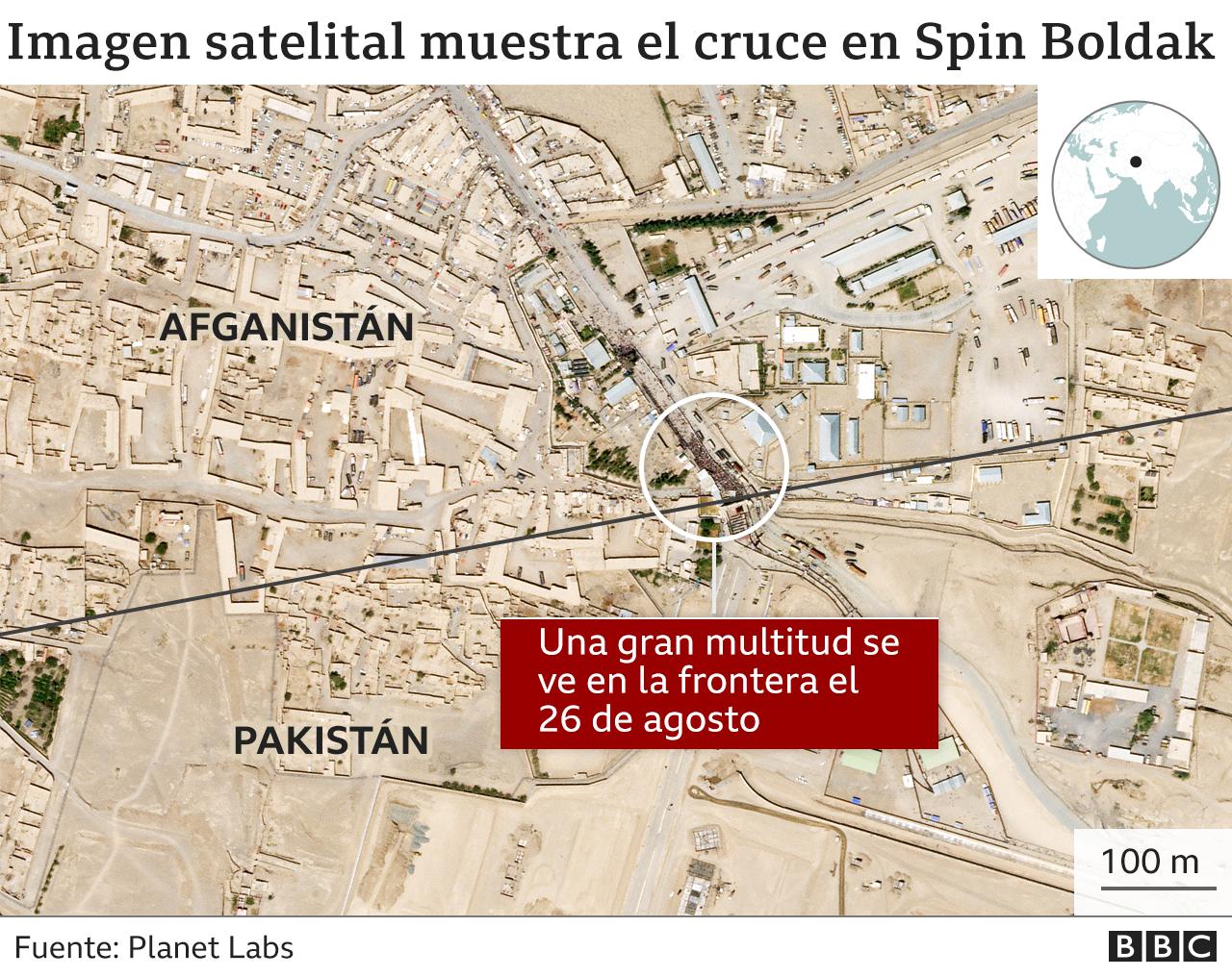 El mapa muestra el cruce fronterizo en Spin Boldak