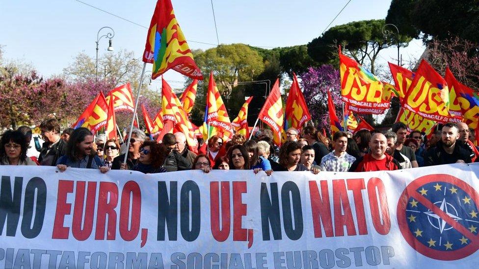 Anti-EU demonstranti u Rimu, mart 2017. godine