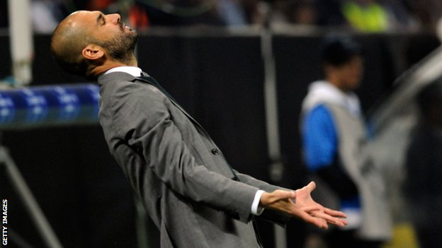 Pep Guardiola looks exasperated during Barcelona's game against Inter Milan in 2010