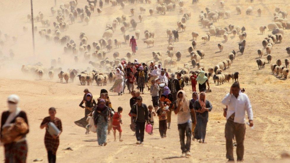 أيزيديون يفرون من سنجار بعد اجتياح التنظيم للمنطقة عام 2016