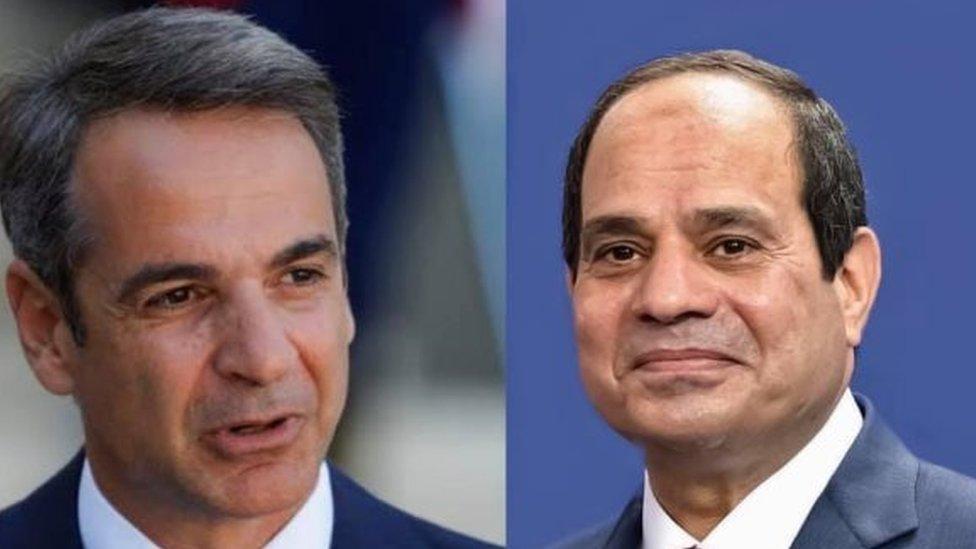 Yunanistan Başbakanı Kiryakos Miçotakis, Mısır Cumhurbaşkanı Abdülfettah es-Sisi
