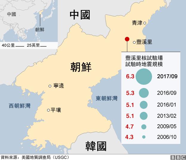 地圖:豐溪里歷次核試驗地震紀錄