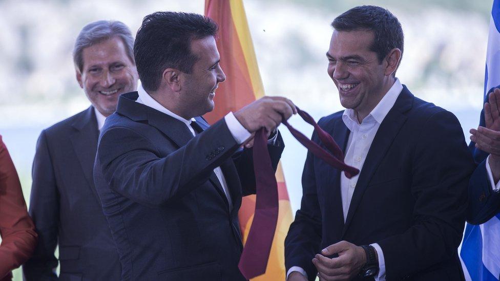 Han, Zaev i Cipras, Prespa, 17. jun 2018.