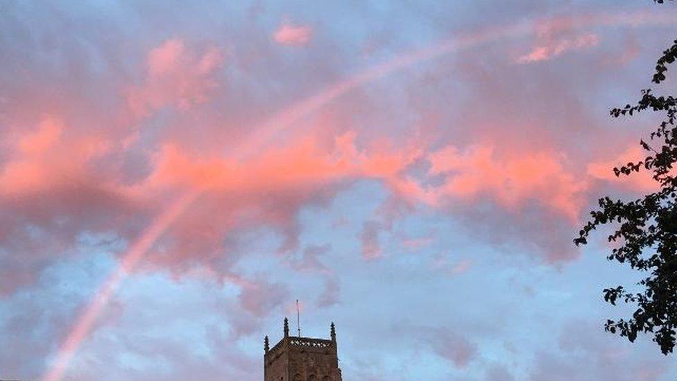 Pink rainbow over Mark in Somerset