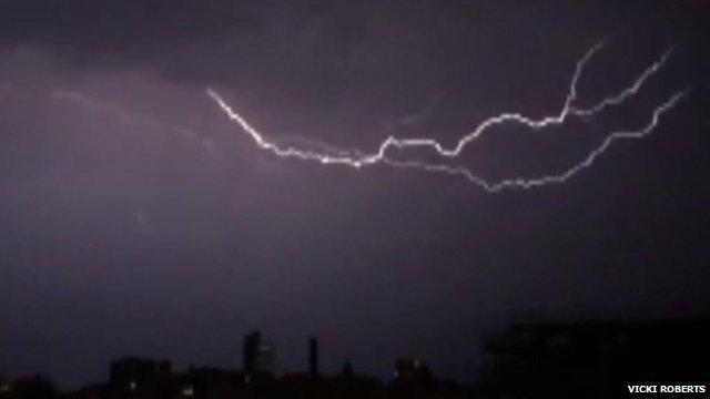 Lightning across Manchester