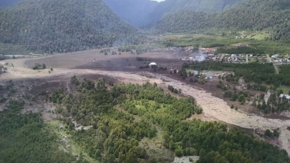 Damage done by a landslide is seen in Villa Santa Lucia, Los Lagos, Chile December 16, 2017