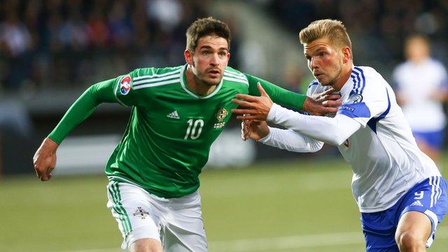 Goalscorer Kyle Lafferty in action in Torshavn