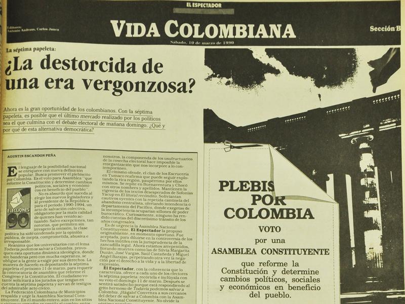 Página de El Espectador de la edición del 10 de mayo de 1990. Séptima Papeleta.