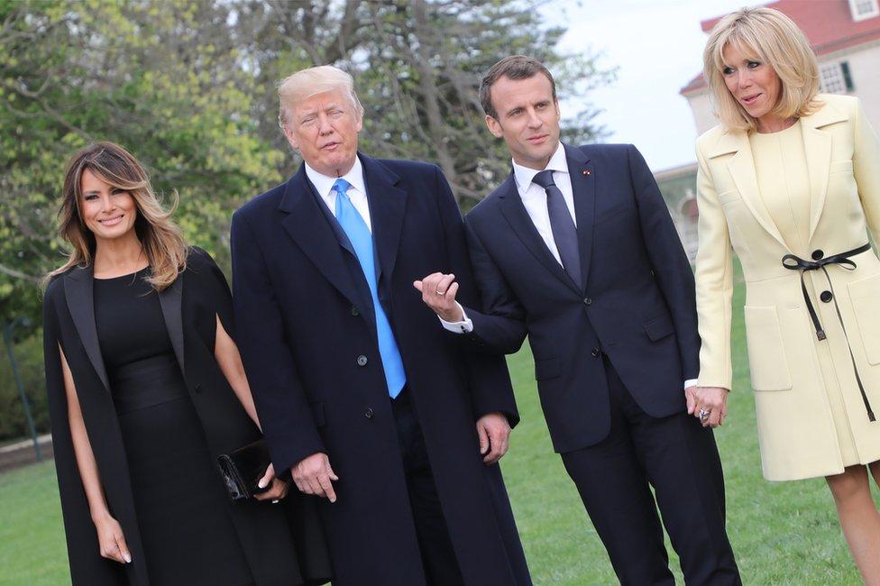 Melania Trump, Donald Trump, Emmanuel Macron y su mujer,
