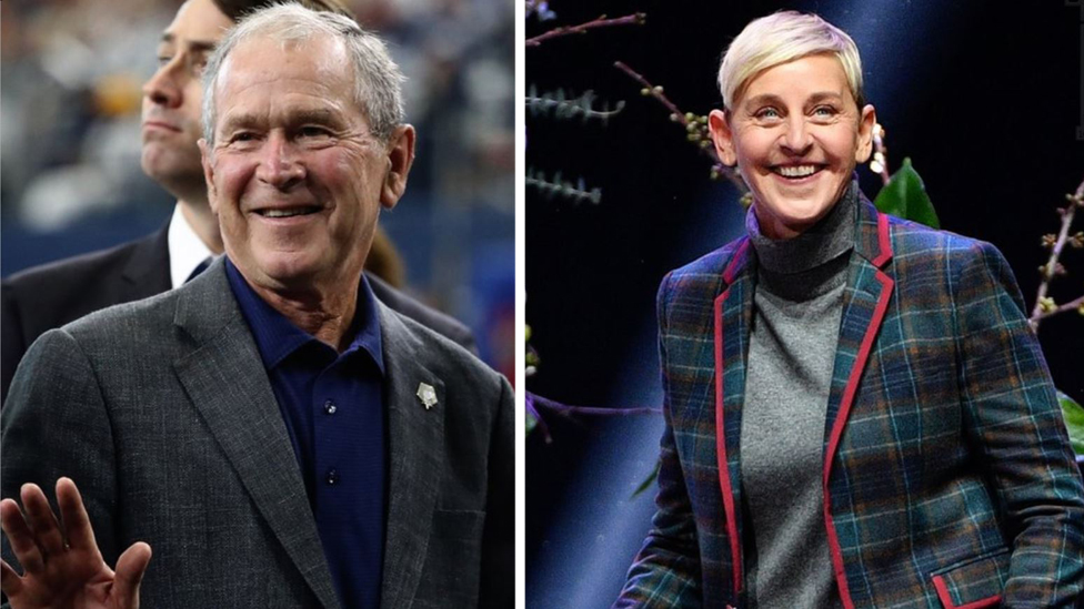 Composite image of George W Bush and Ellen DeGeneres