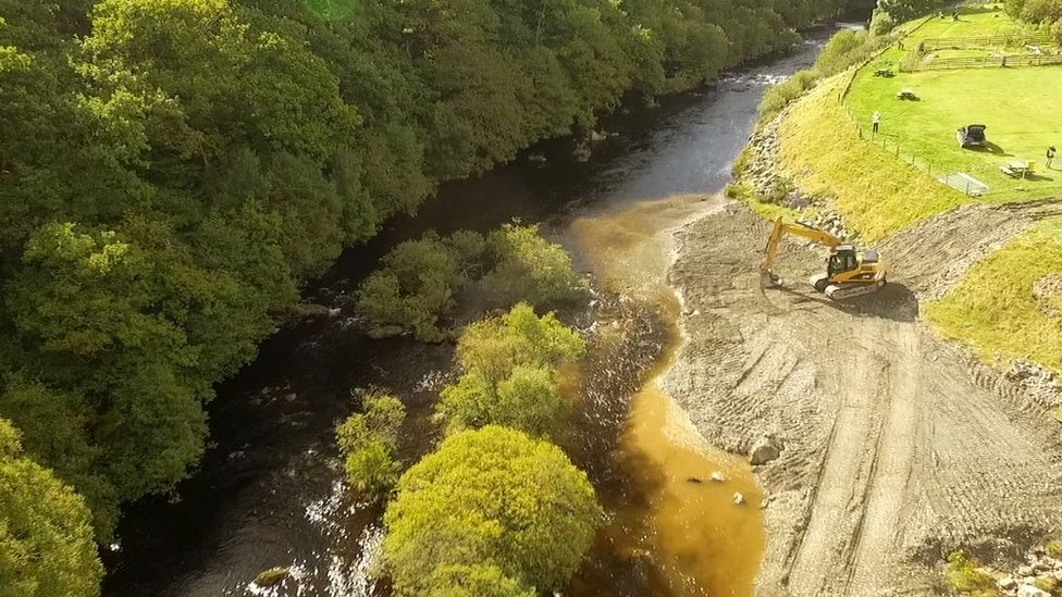 Work has been carried out on the riverbed to allow salmon to spawn