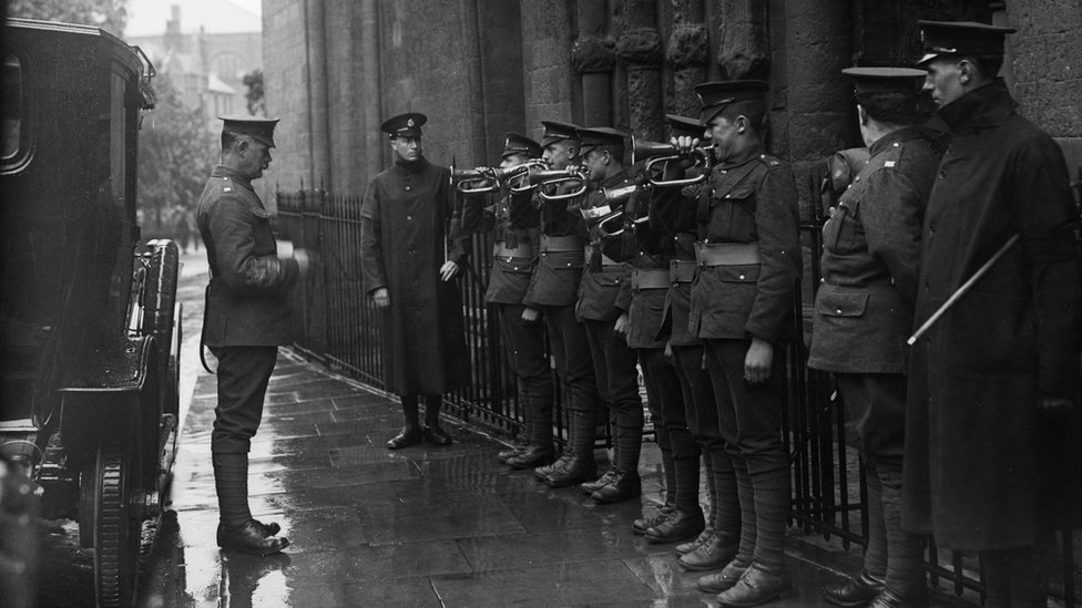 The Last Post played outside Rochester Cathedral, 1919