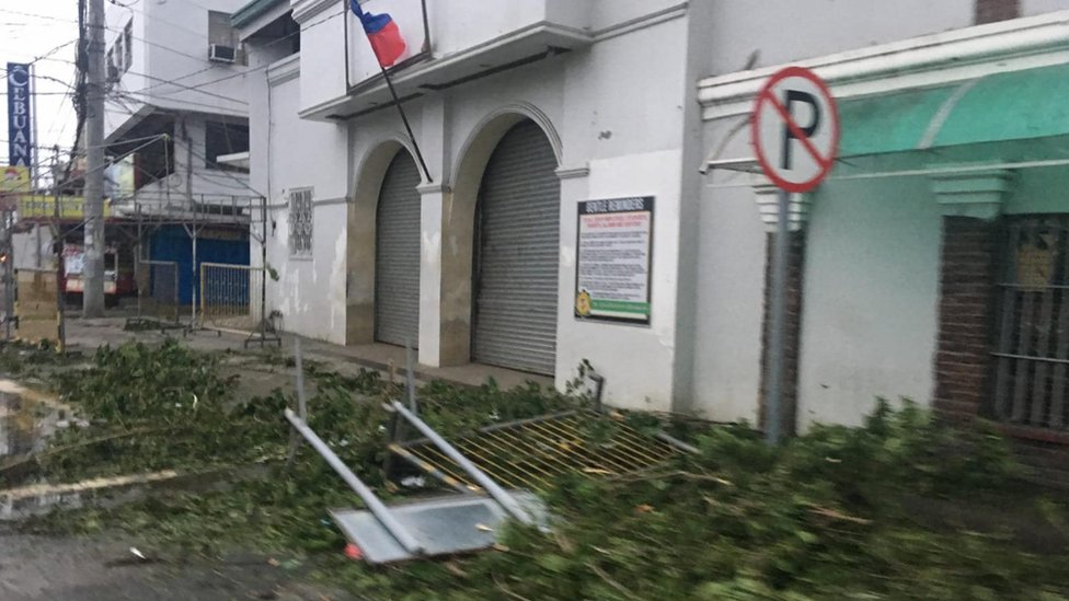 Branches blown across the streets in Tuguegarao