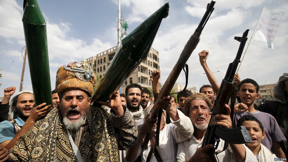 Houthi supporters demonstrate in the Yemeni capital Sanaa