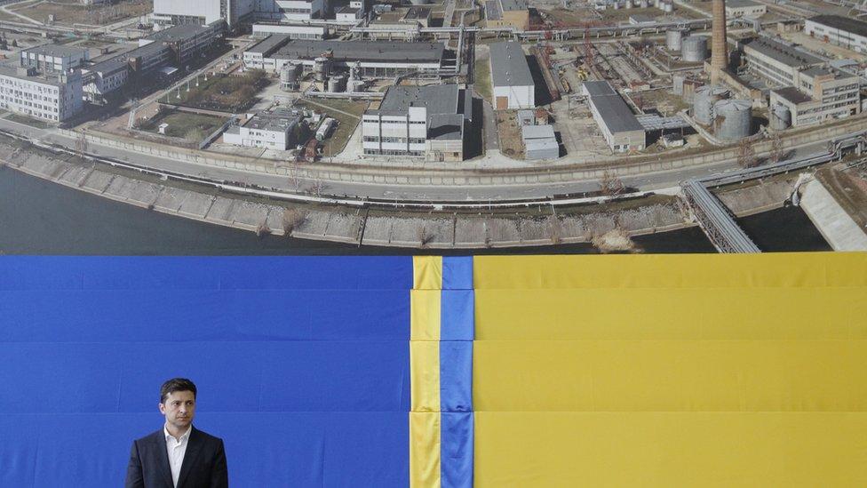 Acto oficial de inauguración del domo de Chernóbil en Kiev, Ucrania, con la presencia del presidente Volodimr Zelenski