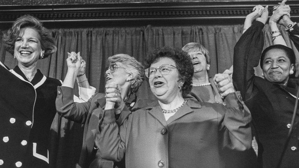Geri Rothman-Serot, Former Rep. Geraldine Ferraro, D-N.Y., Sen. Barbara Mikulski, D-Md., L. Yeaked and Sen. Carol Moseley Braun, D-Ill