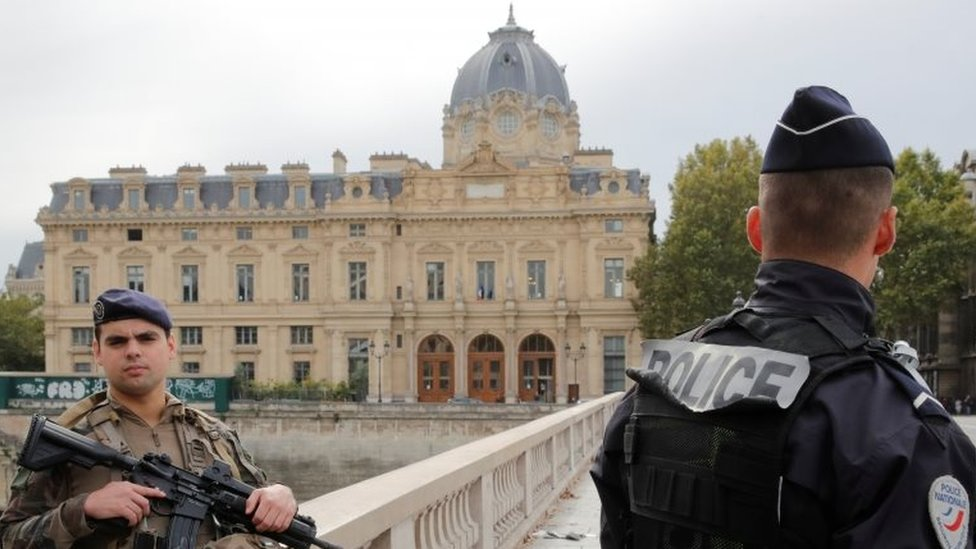 French police secure the area in front of the Paris Police headquarters in Paris, France, 3 October 2019.