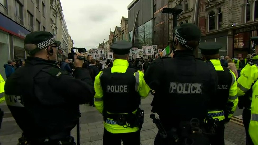 There was a heavy police presence in the city centre on Friday morning