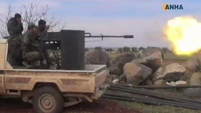 Turkish soldiers fire at Kurdish targets