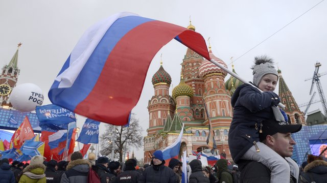 Pro-Kremlin supporters attended a rally in Moscow