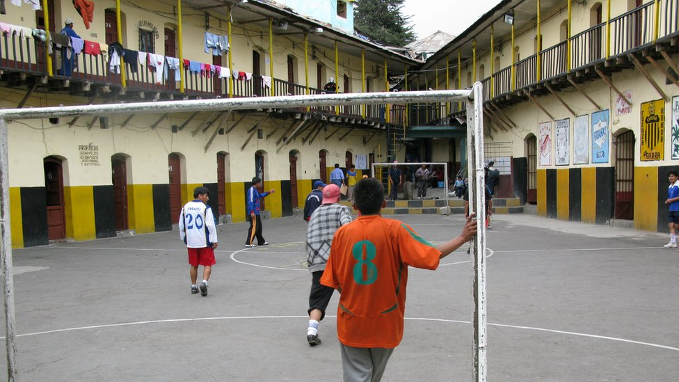 San Pedro Prison's central courtyard doubles as a football pitch