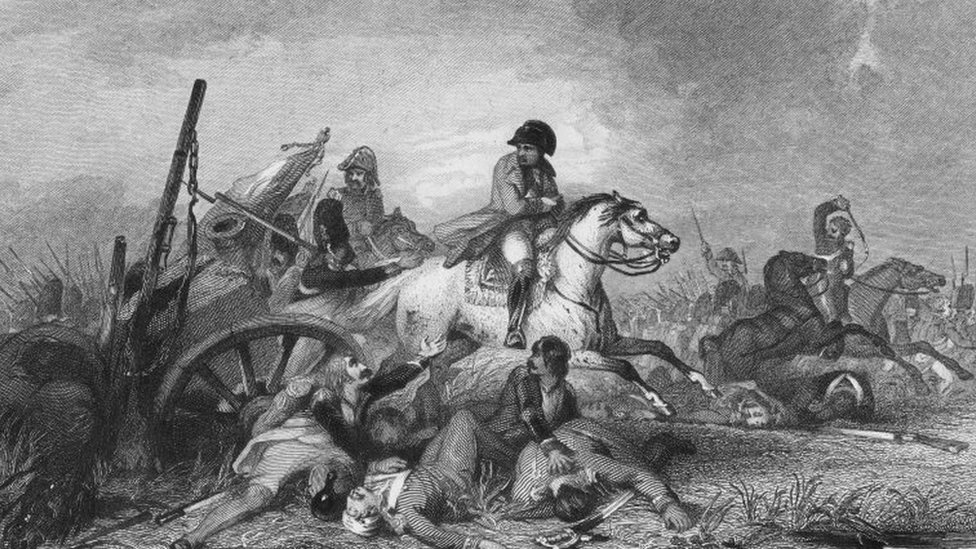 An engraving by Ambrose Warren (after original work by John Gilbert) imagines the moment Napoleon fled pursuing Allied troops at Waterloo