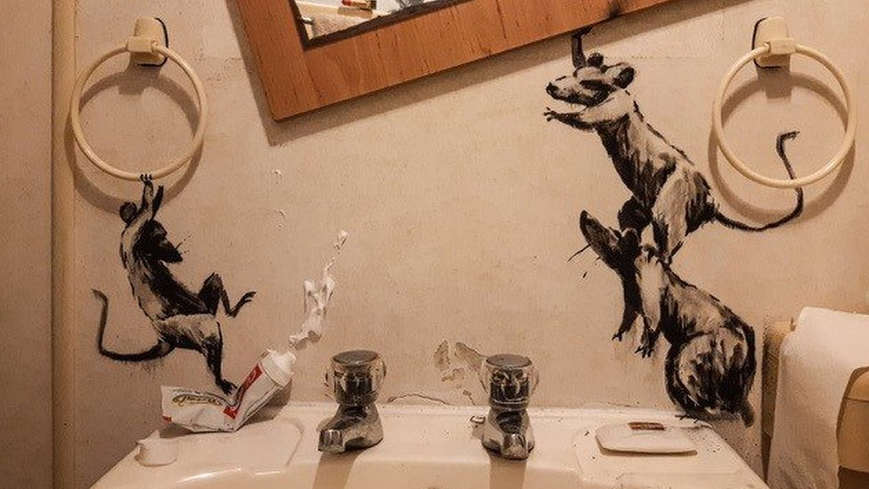 A close-up of Banksy's recent artwork at home