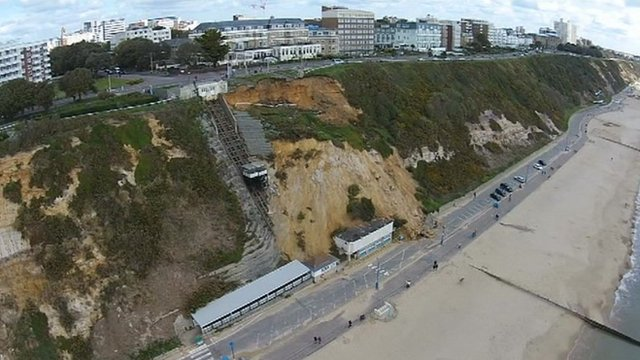 The landslip at East Cliff in Bournemouth