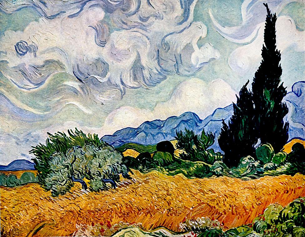 """""""Un campo de trigo con cipreses"""" de Vincent Van Gogh"""