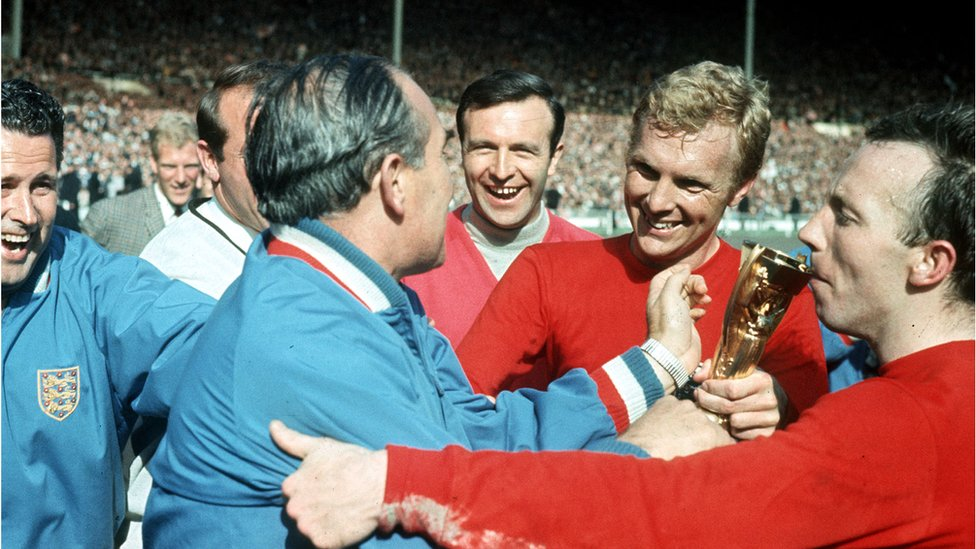 Bobby Moore with Alf Ramsey and the Jules Rimet World Cup trophy England 1966
