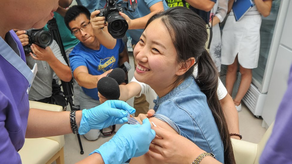 Chinese woman being vaccinated for HPV