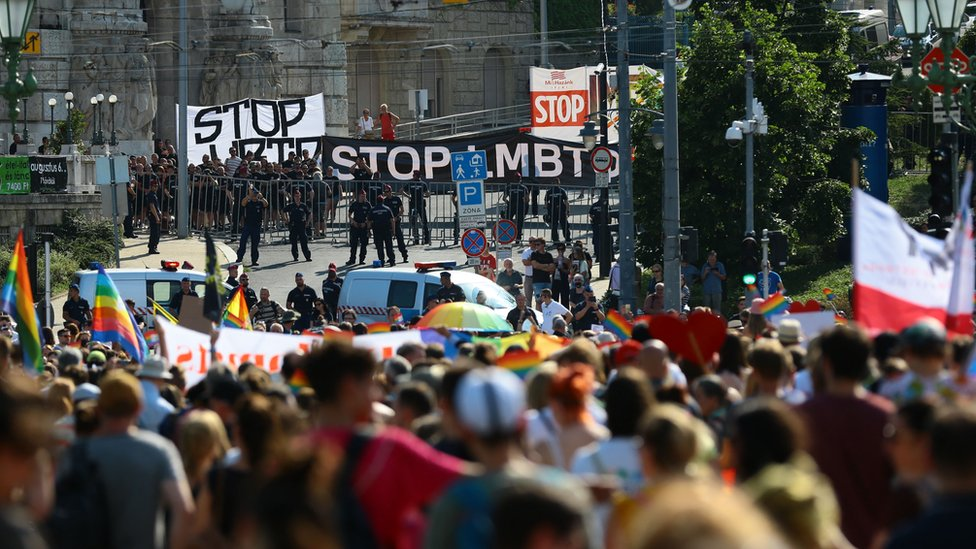 Counter-protesters stage a protest during the lesbian, gay, bisexual and transgender (LGBT) Pride Parade in Budapest on July 24, 2021