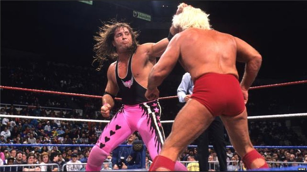 Bret 'the hitman' Hart in action against Ric Flair in 1990s