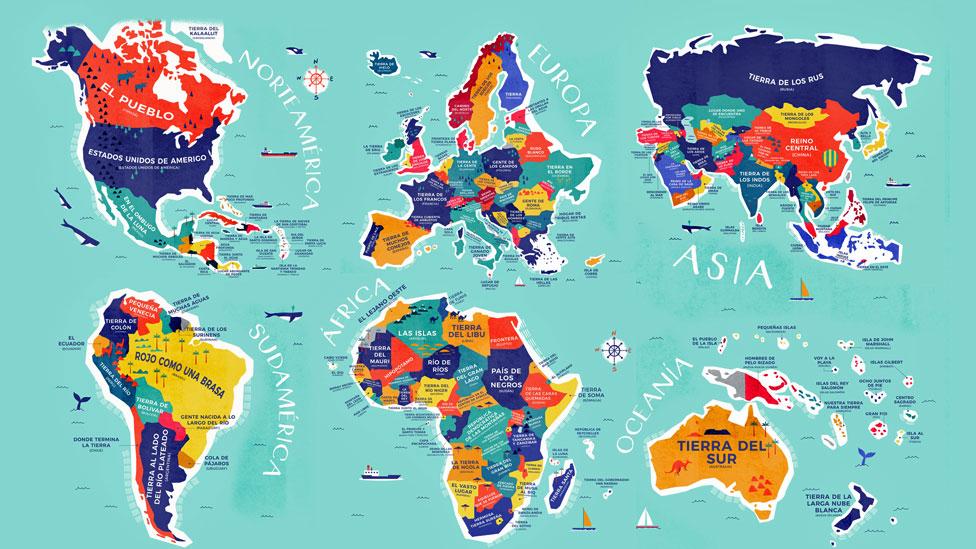 mapamundi con nombres traducidos