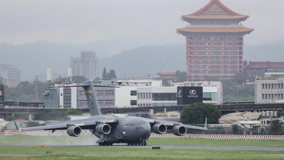 美國空軍一架運輸機抵達台灣